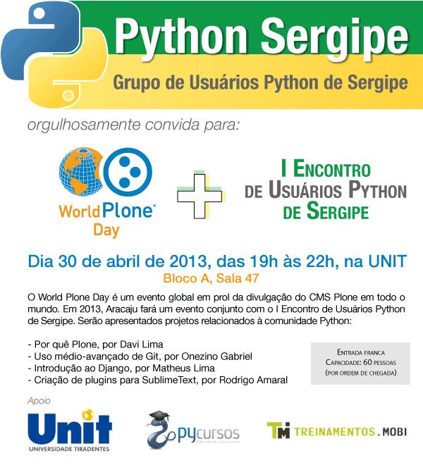 World Plone Day Aracaju + Encontro de Usuários Python de Sergipe